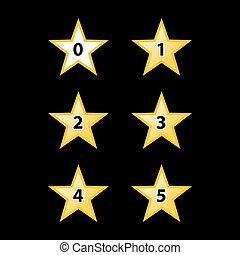 Stars Rating - Simple Stars Rating. Yellow Shapes on Black...