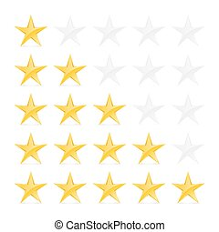 Stars Rating - Simple Stars Rating Gold Shapes with Shadow...