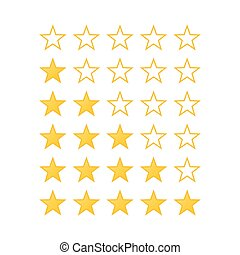 Stars Rating - Simple Stars Rating Yellow Shapes on White...