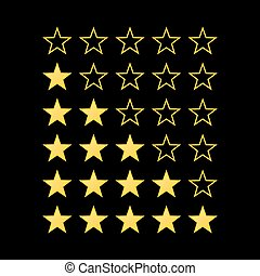 Stars Rating - Simple Stars Rating. Yellow Shapes on Black