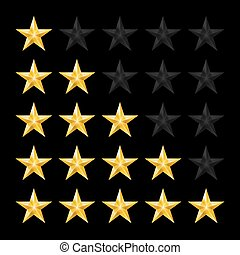Stars Rating - Simple Stars Rating. Gold Shapes on Black