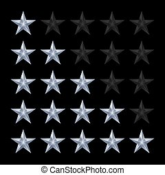 Stars Rating - Simple Stars Rating. Silver Shapes with...