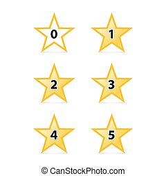 Stars Rating - Simple Stars Rating Yellow Shapes with Shadow...
