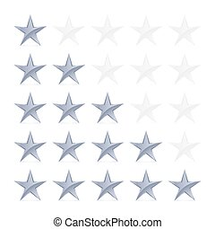 Stars Rating - Simple Stars Rating Silver Shapes with Shadow...