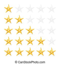 Stars Rating - Simple Stars Rating. Gold Shapes with Shadow...