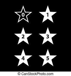 Stars Rating - Simple Stars Rating White Shapes on Black...