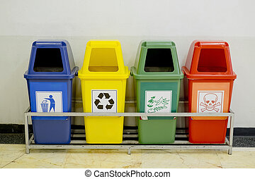 Different Colored wheelie bins set with waste icon
