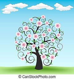 Blooming tree and sky - The blooming cartoon tree on the...