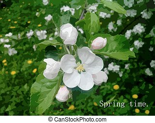 Spring-time-1 - Spring background, apple-tree flowers, green...