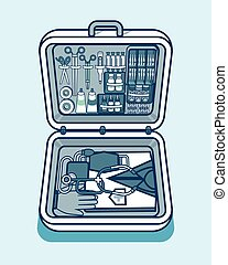 illustration of medical supplies, drugs, pills, tools,...