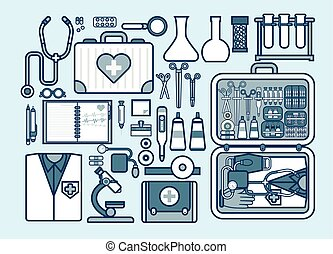 illustration of medic supplies, drugs, pills, tools,...