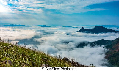Sea of fog - Sea of fog Beautiful Sunrise, dramatic cloud of...