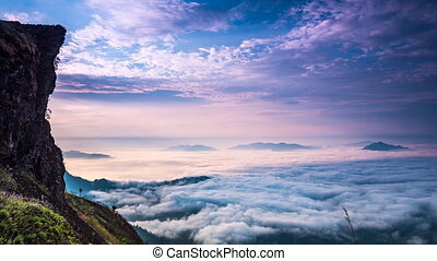 Sea of fog. - Sea of fog at Phu chi fa, Chiang rai,...