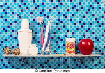 Shelf with hygiene in background bathroom - Shelf with...