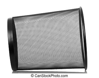Empty metal basket for waste paper isolated on white - Empty...