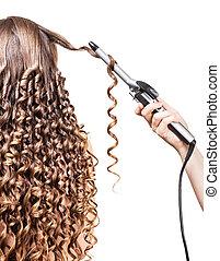 Hairdresser long curls girl groomed hair isolated on white ....