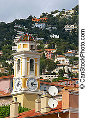 Church in french riviera - Church tower in Villefranche Sur...
