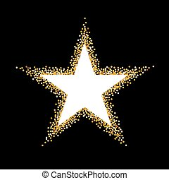 Golden Frame - Golden Glitter Frame in the Form of Star on...
