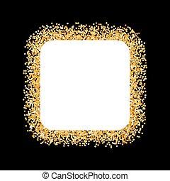 Golden Frame - Golden Glitter Frame in the Form of Square on...