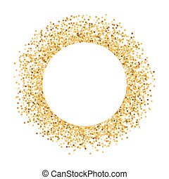 Golden Frame - Golden Glitter Round Frame with Copy Space...