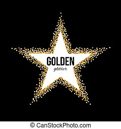 Golden Frame in the Form of Star with Text on Black...