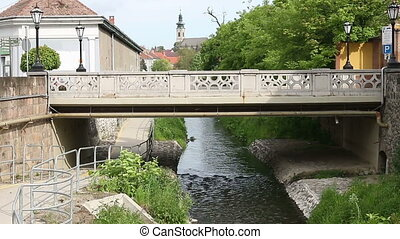 little bridge over river Eger Hungary