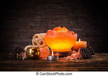 Himalayan crystal lamp - Turned on himalayan crystal natural...