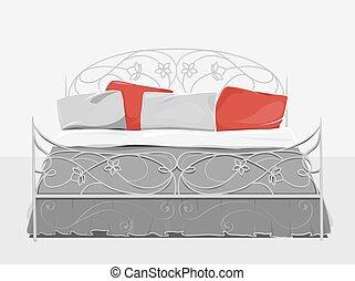 Vintage bed. Home textile. Bedclothes. Art nouveau   style.