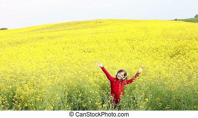 little girl enjoy in music on field