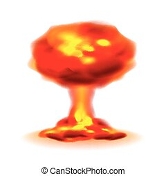 Nuclear explosion isolated on white vector - Nuclear...