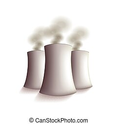 Nuclear power plant isolated vector - Nuclear power plant...