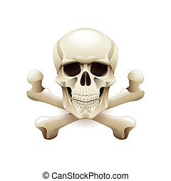 Skull crossbones isolated on white vector - Skull crossbones...