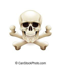 Skull crossbones isolated on white vector - Skull crossbones...