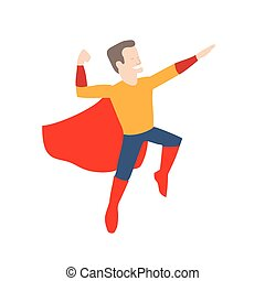 superhero in midair - This is an illustration of superhero...