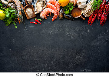 Shellfish plate of crustacean seafood with shrimps, mussels,...