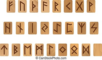 Wooden alphabet with ancient Old Norse runes Futhark Set of...