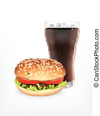 Hamburger with cola EPS10 Vector icon