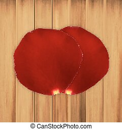 Rose petals on a wooden planks. EPS10 vector
