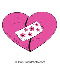 Pink broken heart with a patch vector