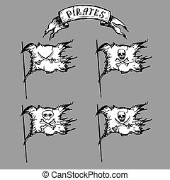 Collection of hand-drawn pirate flags