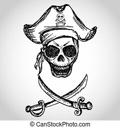 pirate skull with hat and crossed swords, hand drawing,...