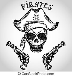 pirate skull with hat and pistols, hand drawing, vector