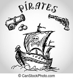 Collection of hand-drawn pirates design elements. -...