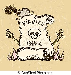 Collection of hand-drawn pirates design elements -...