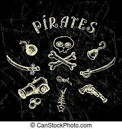 Collection of hand-drawn pirates design elements on black,...