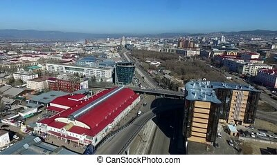 Aerial video drone with bird's-eye view of the city of...