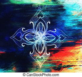 ornamental, mandala., Original, mão, desenhar, e,...