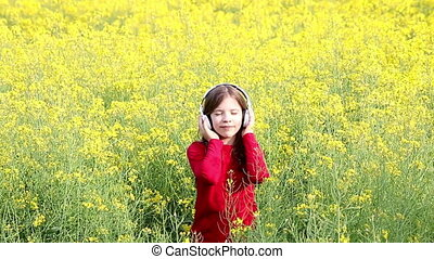 little girl enjoy in music