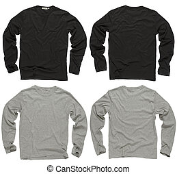 Blank black and gray long sleeve shirts - Photograph of two...