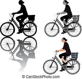 Biking lady - Vector illustration of a lady riding bicycle....